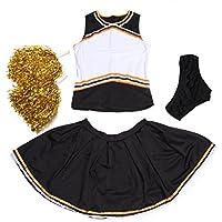 Disfraz de animadora con pompones color blanco, azul y amarillo, color Black+Orange, tamaño L uk 12 14