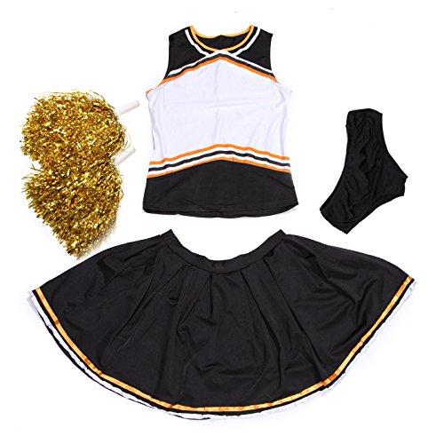 Cheerleader-Uniform, personalisierbar vorne, mit Slip und Pompons, schwarz und orange