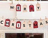 """Valery Madelyn 2 Piezas Guirnalda Navideña con Clip Texto en Inglés Merry""""""""Christmas, 39 and 67 Pulgada Lino Banner Adornos Navideños para Árbol Banderines y Guirnaldas para Fiestas"""