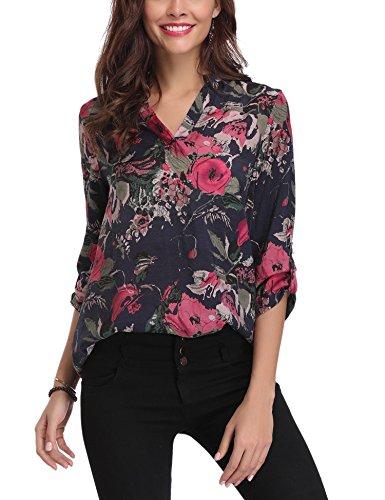 Abollria donna camicia lunga estiva a fiori bluse casual v scollo camicetta larga con maniche di 3/4 lunghezza