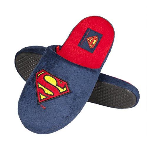 soxo Herren Hausschuhe Männer Pantoffeln Lustige DC Comics Superman Lizenziertes Produkt Gute Qualität, Blau, 45/46 EU