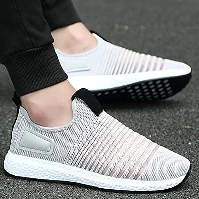 Mode Mesh Sneaker Herren, DoraMe Männer Frühling Beiläufige Reiseschuhe Atmungsaktive Wohnungen Sportschuhe Streifen Slip-On Schuhe
