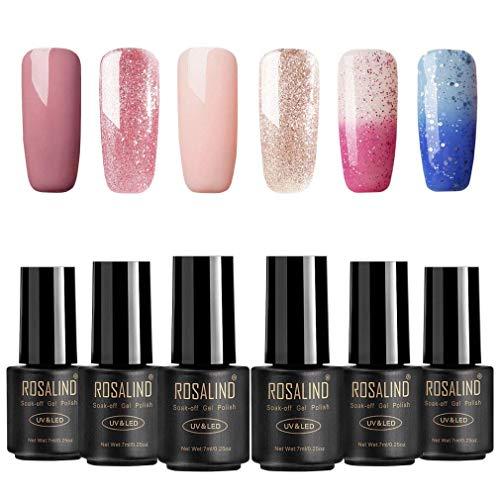 ROSALIND Esmalte uñas gel Glitter colores, cambio