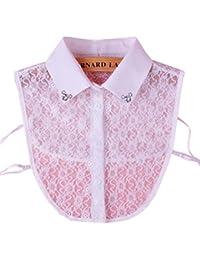 Élégant blanc dentelle collier fake détachable colliers en cristal accessoires de vêtements pour les femmes, C