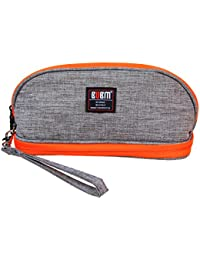 BUBM Portable Women Makeup Bag/ Travel Cosmetic Carry Pouch Toiletry Kit Organizer With Handle( Gray And Orange)