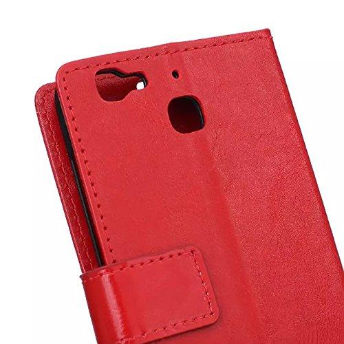 HUAWEI Case Cover Huawei genießen 5S Fall, verrücktes Pferden-Beschaffenheits-Muster CasePU lederner schützender Fall-Abdeckungs-Wallet-Standplatz-Fall TPU weiche Abdeckung für Huawei genießen 5S ( Co Red