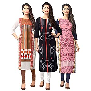 1 Stop Fashion Women's crepe straight Kurta (Pack of 3)