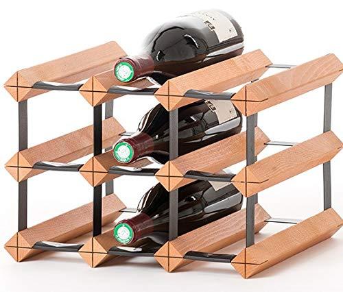 RAXI TM Classic Premium Weinregal aus Holz mit luxuriösem Design/Flaschenregal für 9X Wein Flaschen - 32,5x23x30 cm