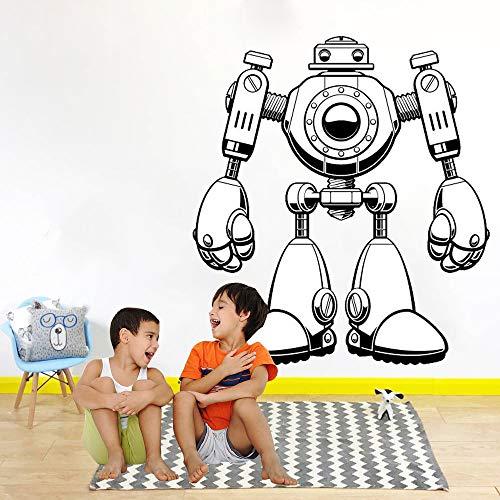zhuziji Lustige Cartoon Roboter Selbstklebende Vinyl wandaufkleber Jungen Zimmer Wohnzimmer wandkunst Aufkleber dekor abnehmbare Aufkleber Kind GIF Kaffee Farbe 56x63 cm (Schaum-roboter)