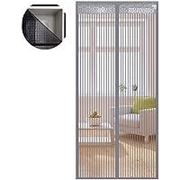 Liveinu Fliegengitter Tür Insektenschutz Magnet Fliegen Gitter Vorhang Fliegenvorhang für Balkontür Wohnzimmer Klettband Fassung Grau(Klettband version) 140x210cm