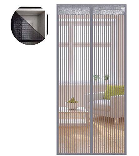 Liveinu zanzariera magnetica per porte finestre tenda zanzariera con magneti rete anti zanzare zanzariera strisce laccio adesivo fotogramma intero versione grigio (strisce laccio adesivo) 100x210cm