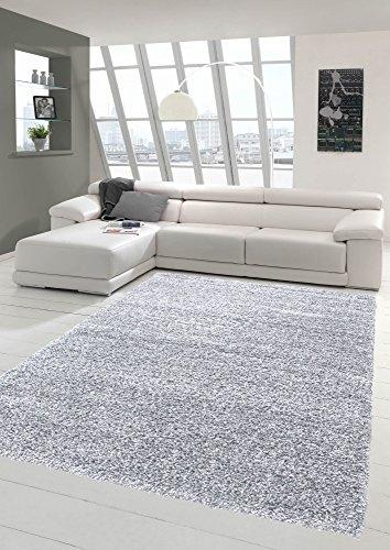 Shaggy tappeto shaggy a pelo lungo tappeto del salotto tappeto modellata in uni design grigio größe 160x230 cm