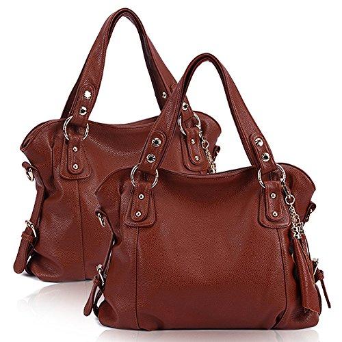 SHUhua europäische u. Amerikanische Art- und Weisetroddel-Handtasche WOmen Spitzenhandgriff-Beutel brown