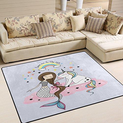 Domoko Quotes - Alfombra de Unicornio con diseño de Estrella de Sirena arcoíris, para Sala de Estar, Dormitorio, Tela, 160cm x 122cm(5.3 x 4 Feet)