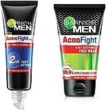 Garnier Men Acno Fight Pimple Clearing Gel,10ml And Garnier Men Acno Fight Anti-Pimple Facewash, 100gm