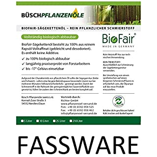 BioFair® Sägekettenöl 210 Liter im Fass - aus 100% reinem Rapsöl-Vollraffinat - bio rein pflanzlich
