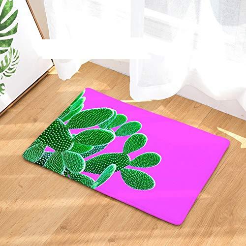 YUANMAKE Teppiche Stil Farbdruck Teppiche rutschfeste Bodenmatte Außenteppiche Kaktus Haustürmatten 50X80Cm