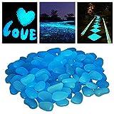 StillCool Pietre di ciottoli Glow nel giardino oscuro er piante di passerella Decorazione del serbatoio di pesce Pietra luminosa 100PCS (blu)