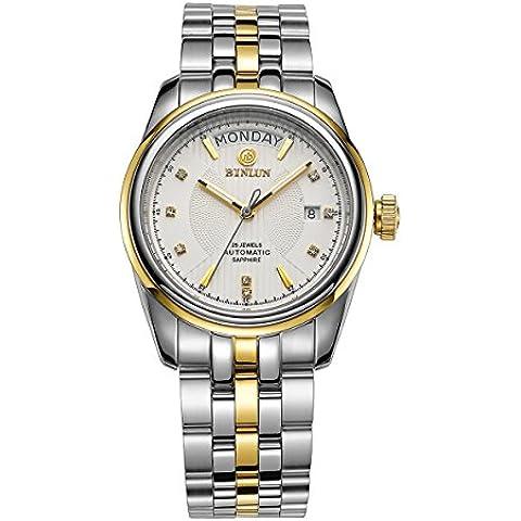 binlun bl0051s da uomo Swiss 21-jewel Self-Winding meccanico movimento orologi con giorno e date-2Tones