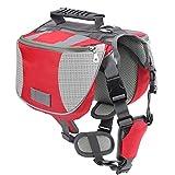 V.JUST Zaino Per Cani Da Compagnia, Sella Portaoggetti Regolabile Per Animali Da Compagnia, Per Il Campeggio Escursionistico Itinerante,Red