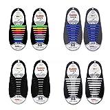 4 Stück Schnürsenkel Elastische Lazy Tieless Silikonkautschuk Sneaker Schnürsenkel für Kinder und Erwachsene, Wasserdicht/Haltbar, Einfach Zu installieren/Off (Regenbogen + Schwarz + Weiß + Blau)