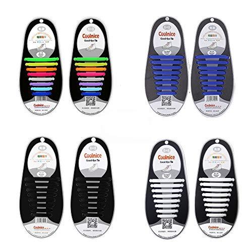4 paia lacci per scarpe elastici in silicone,che non hanno bisogno di essere annodati,per scarpe da bambini e adulti,per corsa ed esercizio (arcobaleno + nero + bianco + blu)