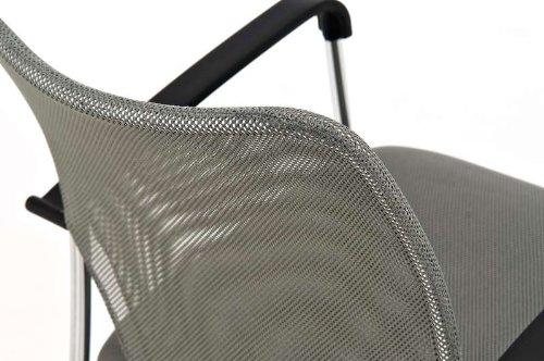 CLP Konferenzstuhl CUBA mit Stoffbezug und hochwertigem Sitzpolster | Besucherstuhl mit Armlehne und Metallgestell Grau - 6