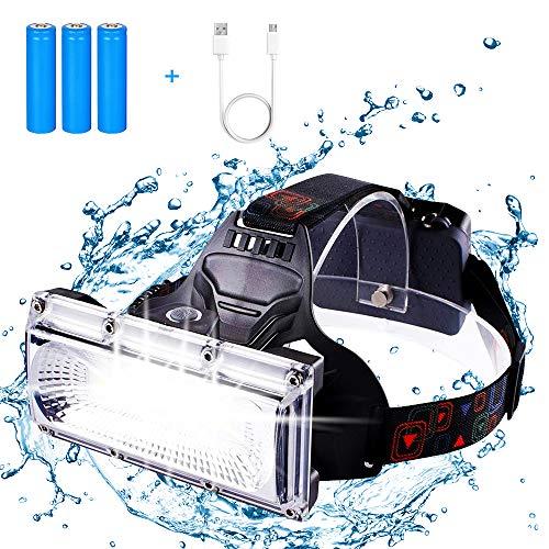 FeelGlad USB Wiederaufladbare 20W LED Stirnlampe Kopflampe,90° Verstellbar,wasserdicht mit USB Kabel+Batteries für Nachtlese Camping Joggen Angeln Abenteuer Bergsteigen Klettern Fahrrad usw