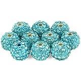 Lot de 10 perles Style Shamballa Strass Cristal 10 mm - Bleu