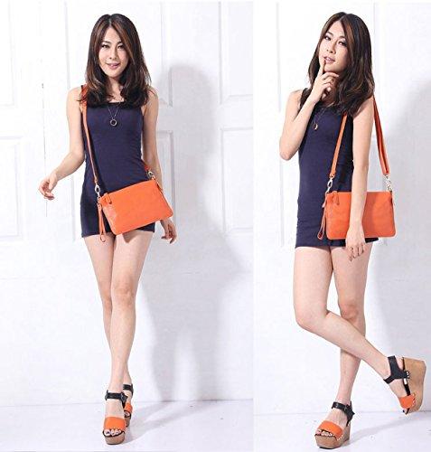 Für Frauen Leder Einfache Solide Farbe Handtaschen Litschimuster Umschlag-Kupplung Orange