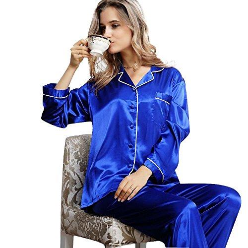 Damen Seide Pyjama Set Schlafanzug Sleepwear Homewear XS~3XL Plus-Größe Invy