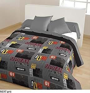 100pourcentcoton couette 220x240 cm double face imprimee reversible 400g m2 next gris amazon. Black Bedroom Furniture Sets. Home Design Ideas