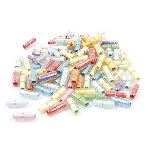 ISKYBOB 100 Piezas Mensajes para Botella En Forma De Cápsula(Plástico Transparente con Papel Colorido)