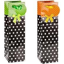 TSI - Bolsas de regalo para botella (2 modelos 12 unidades) diseños con puntos