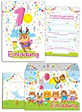 JuNa-Experten 8 Einladungskarten Zum 1. Kindergeburtstag für Mädchen Incl. 8 Umschläge / Bunte Einladungen Zum Geburtstag für Mädchen Süße Tierchen / Süßes REH (8 Karten + 8 Umschläge)