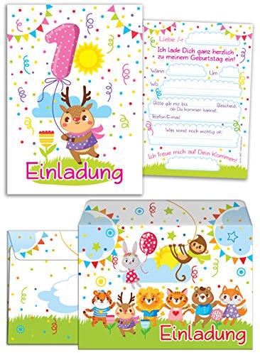 """12 Einladungskarten zum 1. Kindergeburtstag für Mädchen incl. 12 Umschläge / bunte Einladungen zum Geburtstag für Mädchen \""""Süße Tierchen / Süßes Reh\"""" (12 Karten + 12 Umschläge)"""