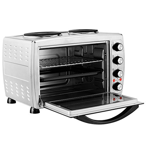 vonshef large 36l convection mini oven grill rotisserie with double hot plates includes. Black Bedroom Furniture Sets. Home Design Ideas