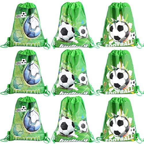 DreamJing 9 Stück Fußball Kordelzug Party Tasche,Mitgebsel Kindergeburtstag Gastgeschenke Party Beutel,Unterwasser Party Taschen/Fußball Mitgebseltüten für Kinder Mädchen Junge Partytüten