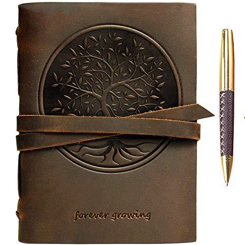 Baum des Lebens Leder Journal Geprägt A5 Handgefertigte Reisetagebuch, Vintage Notebook für Männer Frauen Antiken Rustikalen Echtes Leder 21x15cm Geschenk, Tagebuch, Skizzenbuch, Travelers Notebook -