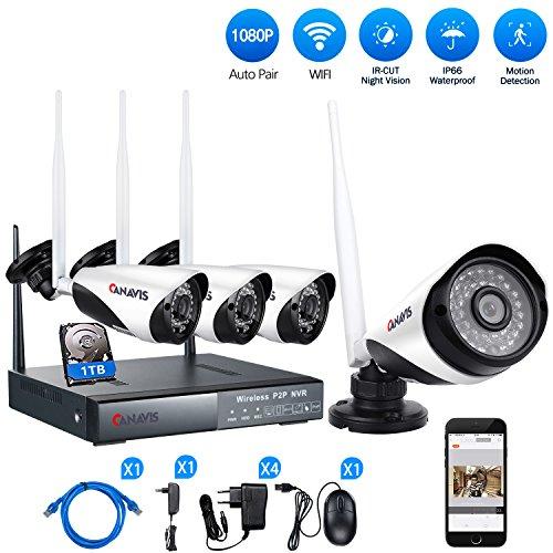 Vigilancia-Cmara-Set-canavis-WiFi-Vigilancia-Exterior-con-4pcs-HD-1080P-IP-CCTV-Cmara36leds-de-IR-Cut-IP66-Super-Visin-Nocturna-detector-de-movimiento-y-acceso-remoto-de-1TB-HDD-ya-integrado