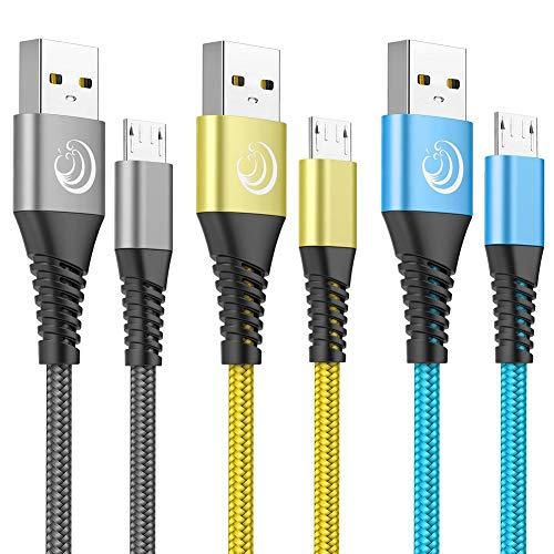 Yosou Lot de 3 câbles Micro USB en Nylon tressé de 2 m à Charge Rapide pour Android, Compatible avec Samsung Galaxy S6 S6edge S7 S7edge S5 J7 J5 J3, Nexus, LG, PS4, Sony, HTC