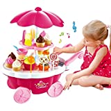MAGNIFICO Sweet Shop Cart Kitchen Cart Luxury Battery Operated With Music & LED Lights Ice Cream Trolley Shop Set For Kids, Pink