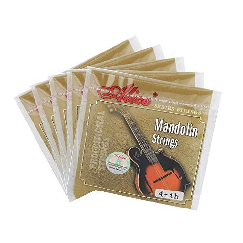 (Alice Mandoline Saiten g-4th vergoldet Stahl Saiten für 4Saiten Mandoline part-extra Licht, 5Stück)