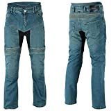 BOSmoto Motorradhose, Jeans Kevlar, Aramid Mit Protektoren Herren (Blau W32)