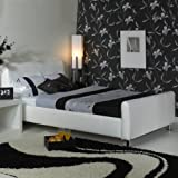 A & I Beds Stylish Snow 3Ft Single Faux Leather Bed Available - Black