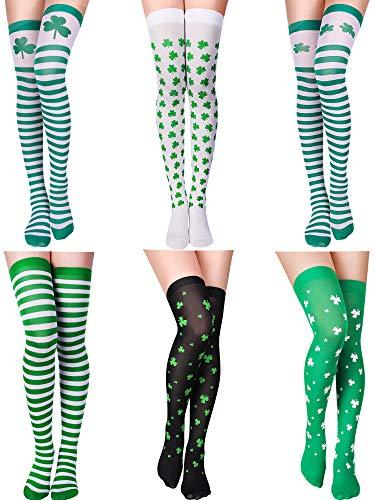 Zhanmai Shamrock Socken Oberschenkelhohe, Lange Socken für St. Patrick's Day (Stil 1)