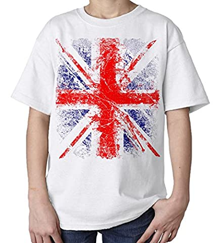 Kids Union Jack Distressed T-Shirt (White) (Ages 3-4)