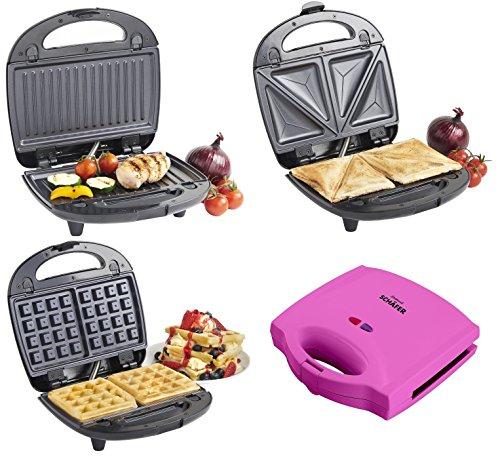 Multifunktionaler 3 in 1 Sandwichtoaster / Waffeleisen / Sandwichmaker / Toaster in verschiedenen Farben (Schwarz)