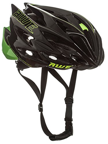 AWE�® AWESpeedTM FREE 5 YEAR CRASH REPLACEMENT* In Mould Adult Mens Road Cycling Helmet 56-58cm Black/Green by AWE