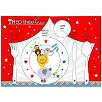 Conjunto de mesa educativo, juego de mesa infantil, tema de circo, animales acrobáticos, tonos rojos y blancos